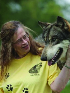Scotti Cohn and a wolf friend!