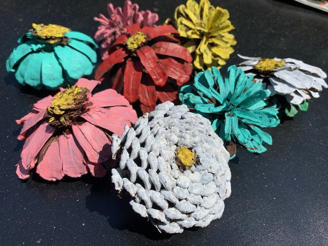 Flowers made of pinecones